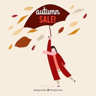 Hand drawn autumn sale composition