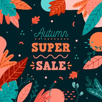 Hand drawn autumn sale concept