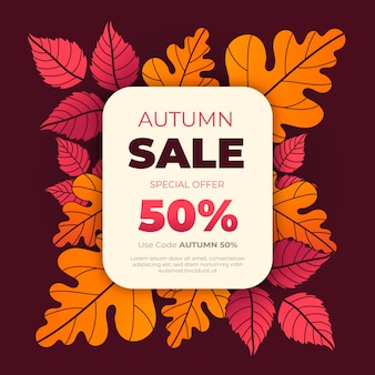 Hand drawn autumn sale illustration with special discount