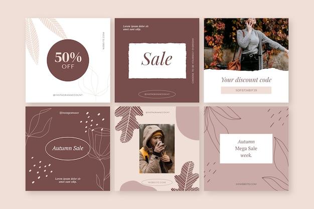 손으로 그린 가을 판매 인스 타 그램 게시물 사진과 함께 컬렉션