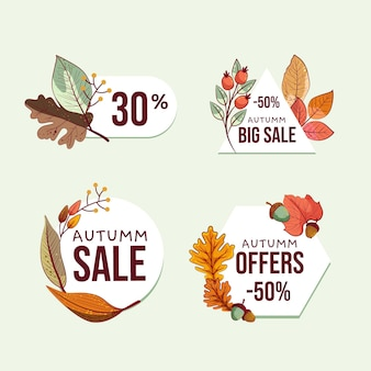 Hand drawn autumn sale labels collection
