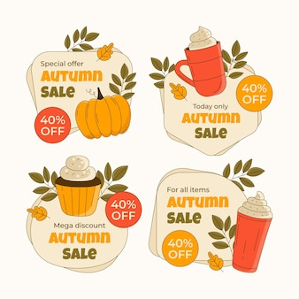 手描きの秋のセールラベルコレクション