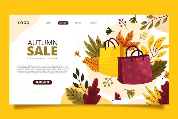Modello di pagina di destinazione di vendita autunnale disegnato a mano