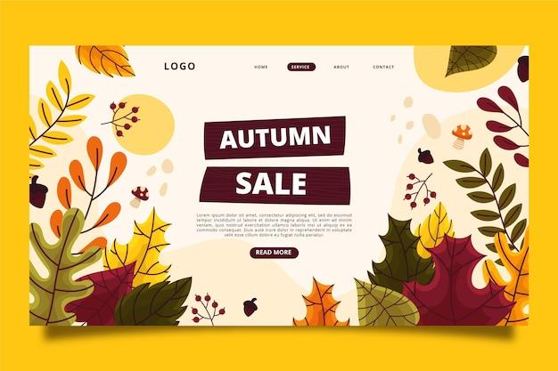 手描きの秋のセールのランディングページテンプレート