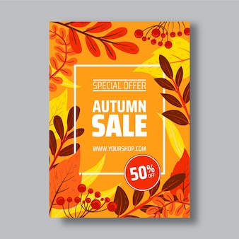 Hand drawn autumn sale vertical poster template