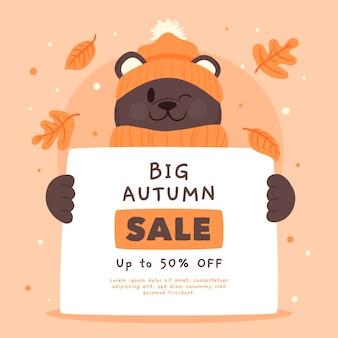 Hand drawn autumn sale with bear