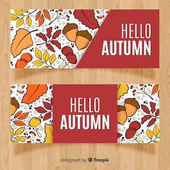 Hand drawn autumn sales banner