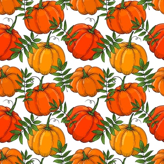 Hand drawn autumn seamless pattern from color pumpkins and leaves.  illustration. colorful.