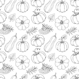 Hand drawn autumn seamless pattern from pumpkins and leaves.  illustration. black and white. monochrome.