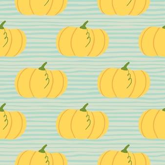 手描き秋のシームレスなカボチャパターン。ストリップと青の背景に明るいオレンジ色の要素。