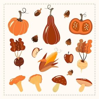 손으로 그린 가을 세트입니다. 수확 요소 야채, 수확.