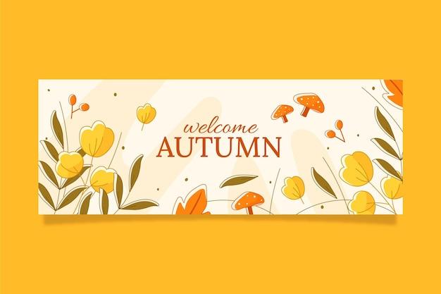 Hand drawn autumn social media cover template