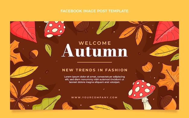Hand drawn autumn social media post template