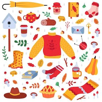 Рисованной осенние символы. осенние листья, лесные растения, уютная еда, теплая одежда и книги, набор милых иконок иллюстрации элементов осеннего сезона. гриб и лист, тыква и зонтик