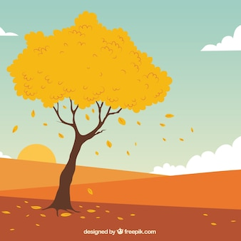 Hand drawn autumn tree and landscape