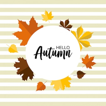 Hand drawn autumn typography card with cute colorful leaves