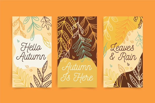 Hand drawn autumn vertical banners