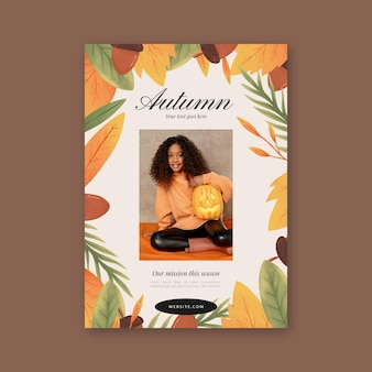 Hand drawn autumn vertical flyer template with photo