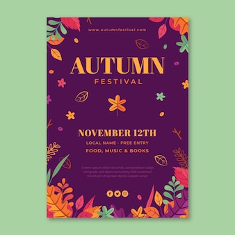 Hand drawn autumn vertical flyer template