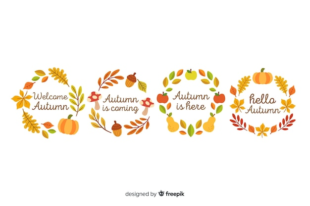 Hand drawn autumn wreaths collection