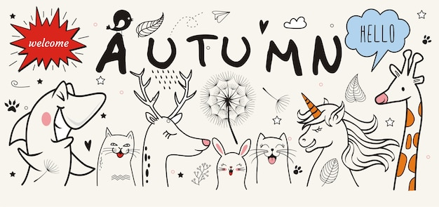 Hand drawn of  autumn