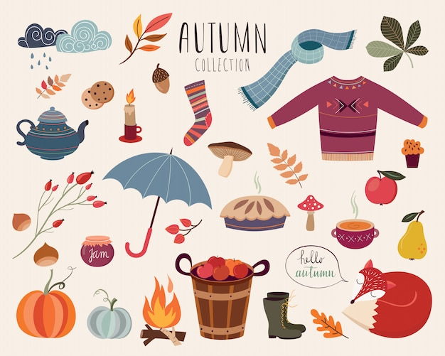 Hand drawn autumnal collection of decorative elements