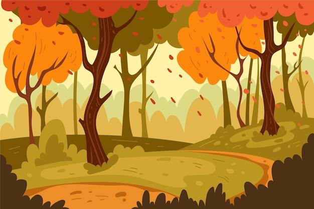 Hand drawn autumnal landscape