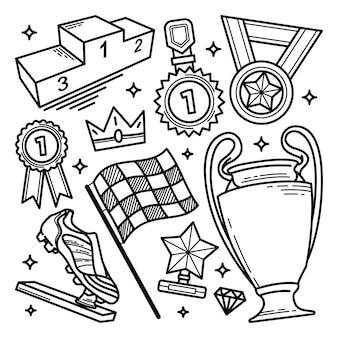 Hand drawn award doodle set