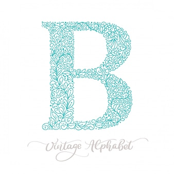 Hand drawn b letter calligraphy lettering