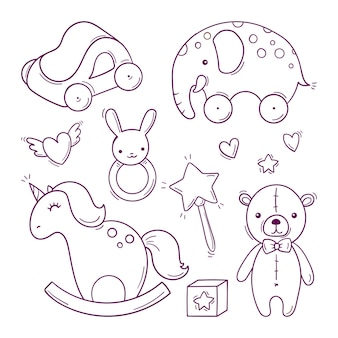 Hand drawn baby black and white toys in doodle style