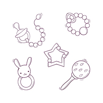 Hand drawn baby black and white toys, rattles, pacifier