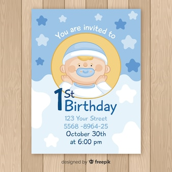 Hand drawn baby boy first birthday card