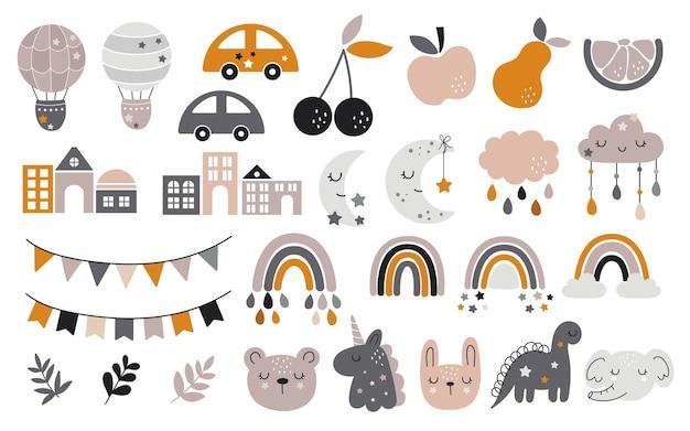 かわいい虹、果物、ホオジロと保育園の装飾のための手描きの赤ちゃんのコレクション。
