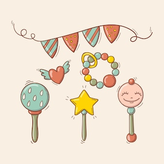 Hand drawn baby colorful toys, rattles, festive garland and a flying heart
