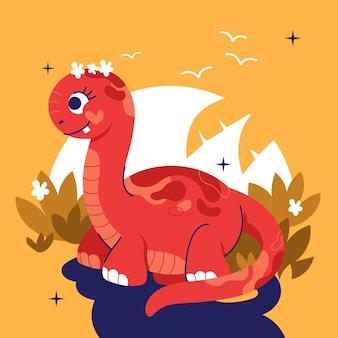 Hand drawn baby dinosaur illustrated