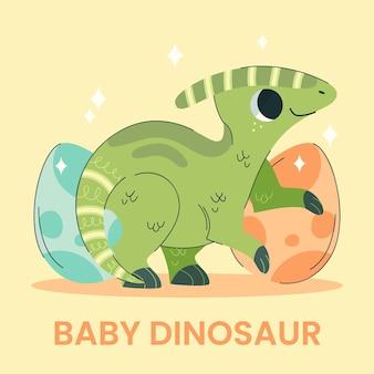 손으로 그린 된 아기 공룡