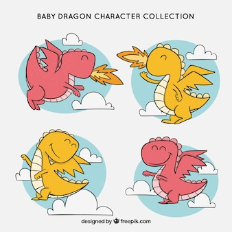 Hand drawn baby dragon character collectio