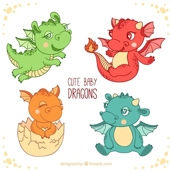 Hand drawn baby dragon character collection