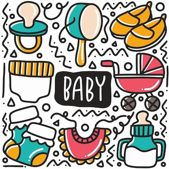 Hand drawn baby equipment doodle set with icons and design elements