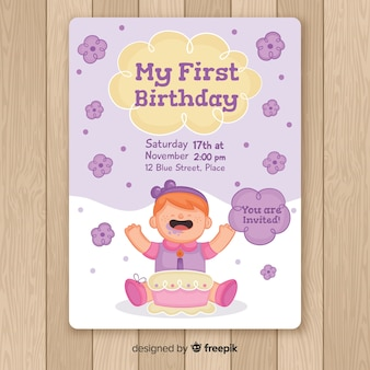 Hand drawn baby girl first birthday card