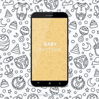 Hand drawn baby mobile pattern