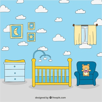 Hand-drawn baby room with crib and armchair
