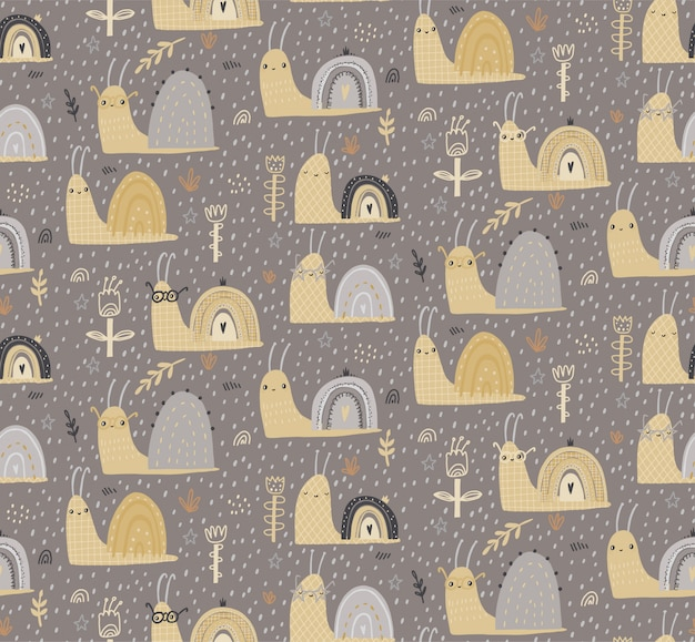 Hand drawn baby seamless pattern with cute snails.