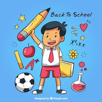 Hand drawn back to school background with boy