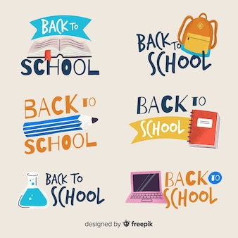 Hand drawn back to school badge collection