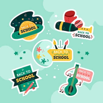 Hand drawn back to school badges collection