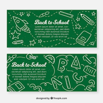 Hand drawn back to school banners in chalk style