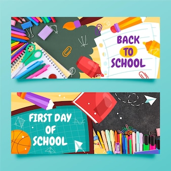 Hand drawn back to school banners set with photo