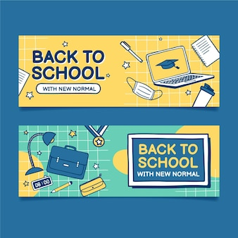 Hand drawn back to school banners set