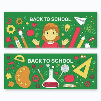 Hand drawn back to school banners template
